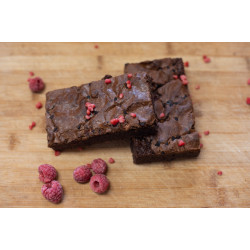 RASPBERRY AND DARK CHOCOLATE BROWNIE.  GLUTEN FREE.  BOX of 6