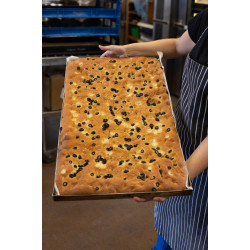 BLACK OLIVE AND ROSEMARY FOCACCIA (Whole tray)
