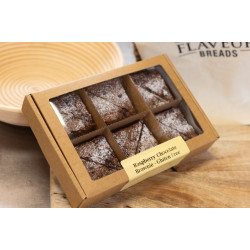 RASPBERRY AND DARK CHOCOLATE BROWNIE.  GLUTEN FREE.  BOX of 6